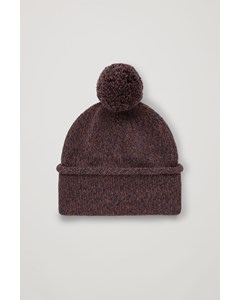 Merino Hat With Pom Pom Brown / Navy