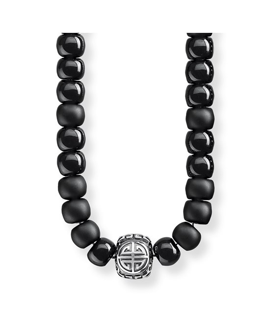 Thomas Sabo Necklace Power Necklace Ethnic Black 925 Sterling Silver, Blackened