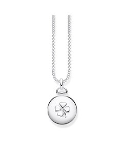 Necklace Locket Cloverleaf Round 925 Sterling Silver, Diamond
