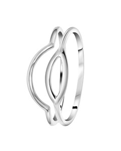 Zilveren Ring 2delig Ovaal/boog