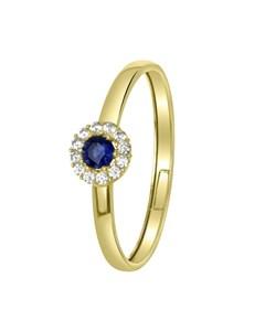 14 Karaat Geelgouden Ring Met Wit&blauwe Zirkonia