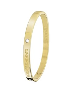 Vergoldeter Bangle-Stahlarmreif von Guess mit Text : Forever.