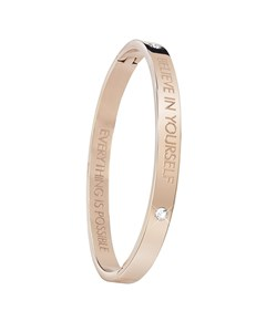 Rotvergoldeter Bangle-Stahlarmreif von Guess mit Text: Believe.