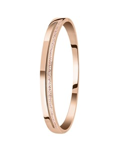 Bangle-Armreif, Edelstahl, rosafarben, Kristall in Light Peach