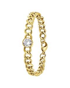 Vergoldetes Edelstahl-Armband mit weißem Zirkonia
