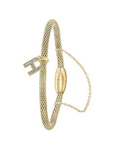 Stahlarmband Maschengewebe vergoldet Buchstabe mit Kristall - Buchstabe H