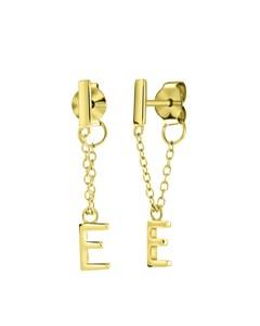 Silberohrringe mit Steg, vergoldet, Alphabet - Buchstabe E