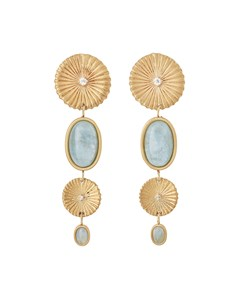 Crinkle Aquamarine Multi Earrings Matt Gold