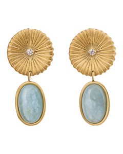 Crinkle Aquamarine Earrings Matt Gold