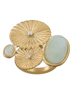 Crinkle Aquamarine Ring Matt Gold
