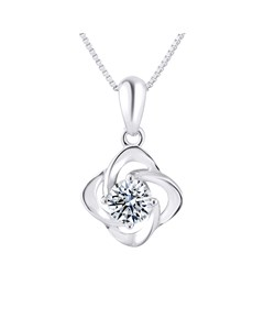 Flower Necklace In 925 Silver