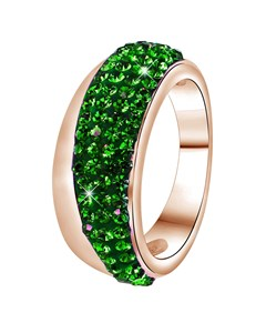 Stalen Ring Roseplated Emerald Kristal