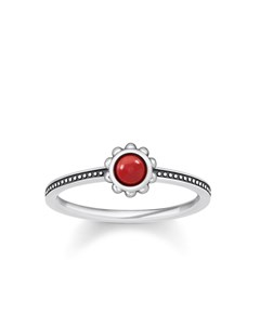 Ring Ethnic Red 925 Sterling Silver, Blackened