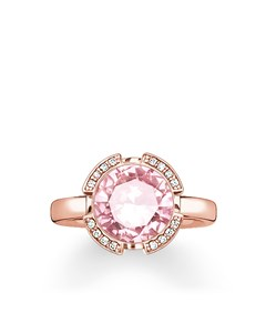 Solitaire Ring Signature Line Pink Pavé 925 Sterling Silver; 18k Rose Gold Plating