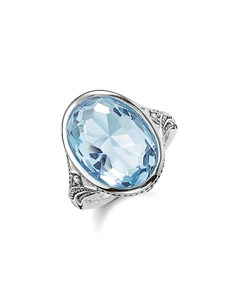 Cocktail Ring Light-blue 925 Sterling Silver, Blackened