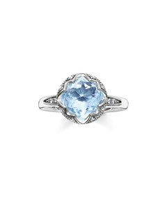 Solitaire Ring Light Blue Lotos 925 Sterling Silver, Blackened