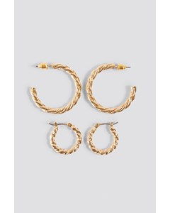 Braided Earrings Set Gold
