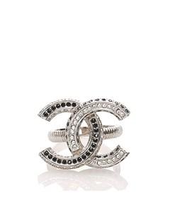 Chanel Cc Rhinestone Metal Ring Silver