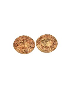 Chanel Vintage Gold Metal Round Clip On Earrings Cc Logos