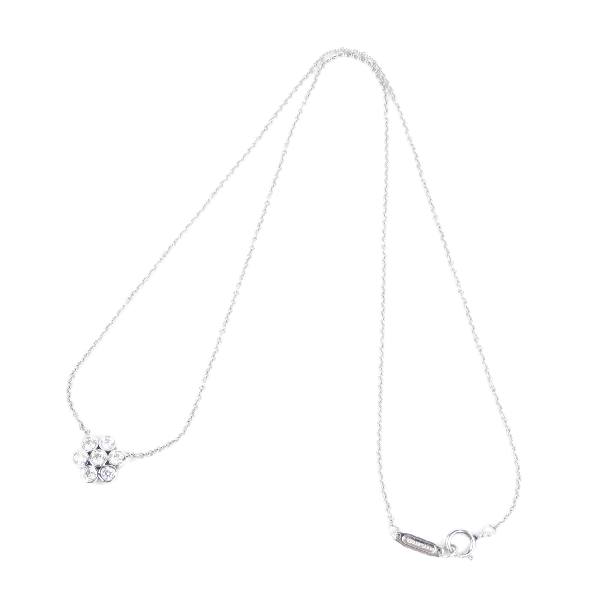 Tiffany Diamond Garden Flower Pendant Necklace Silver | Upp