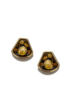 Hermes Enamel Clip On Earrings Gold