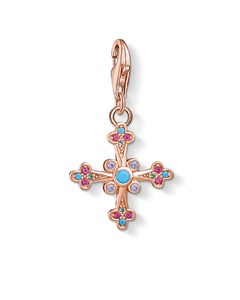 Charm Pendant 'victorian Cross' 925 Sterling Silver; 18k Rose Gold Plating
