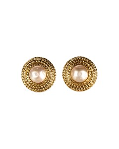 Chanel Faux Pearl Button Clip-on Earrings Gold