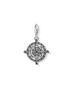Charm Pendant Disc Vintage Compass 925 Sterling Silver, Blackened