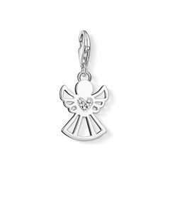 Charm Pendant Angel With Heart 925 Sterling Silver, Diamond