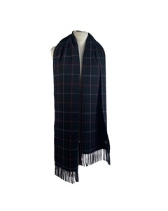 Burberry Vintage Blue Checkered Cashmere Fringed Scarf