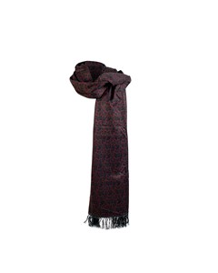 Battistoni Vintage Burgundy Silk Paisley Fringed Oblong Scarf