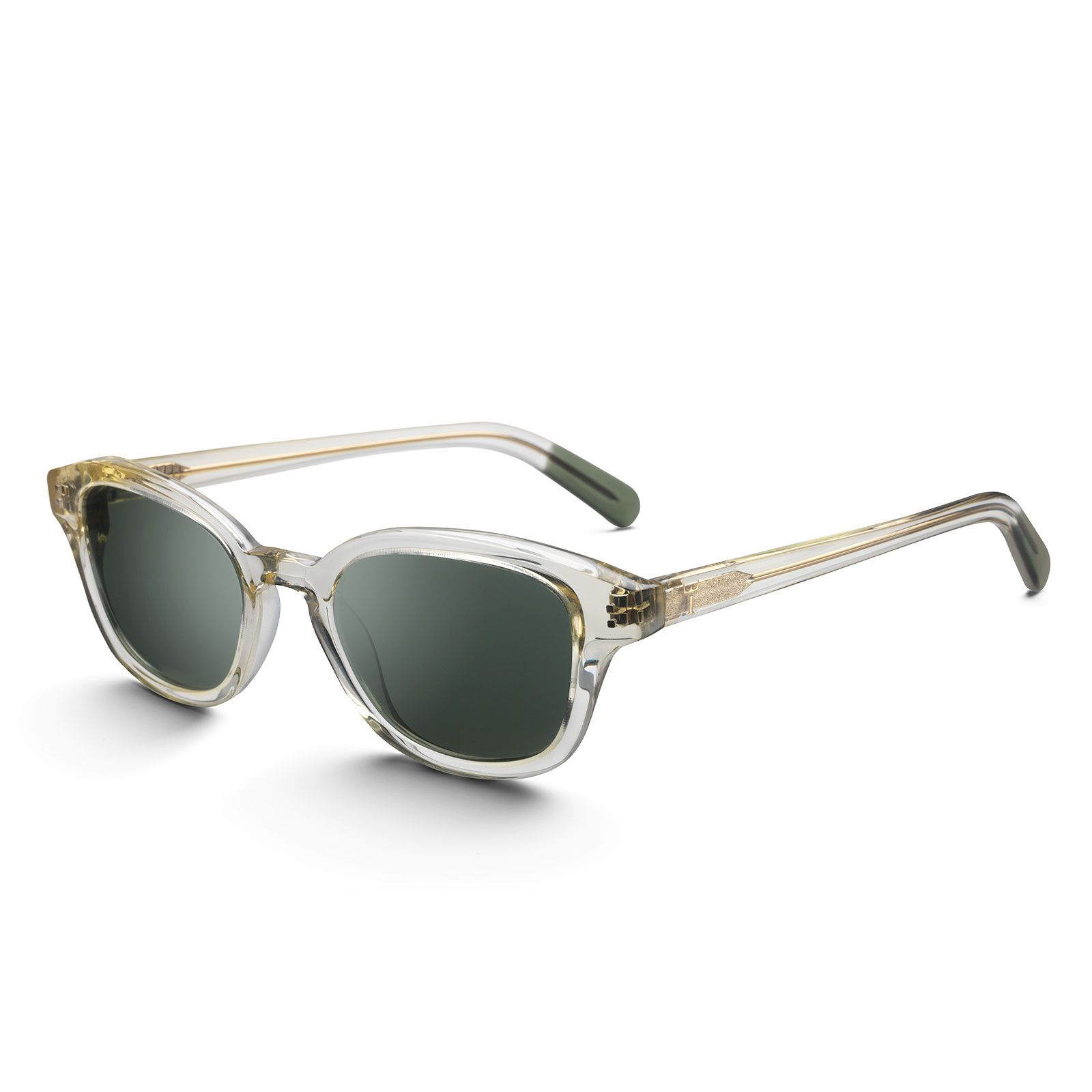 Crystal Frank - Material: Hand cut acetate \nColour: Transparent\nColour on temple ends: green\nMaterial processing: Polished\nLens: Carl Zeiss, 100% UV protection\nLens colour: Grey\nMetal details: Silver plated logo