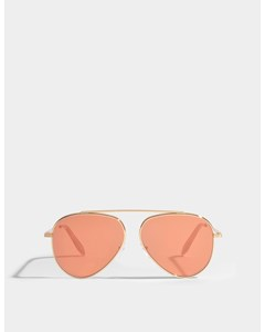 Single Bridge Aviator Sunglasses In Orange Mirror Metal Orange Mirror