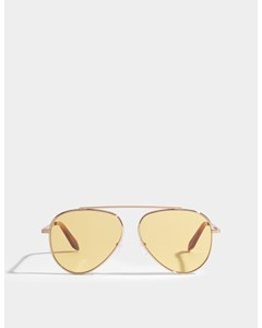 Single Bridge Aviator Sunglasses In Yellow Mono Acetate And Metal Yellow Mono