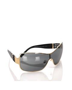 Chanel Pearl Embellished Shield Sunglasses Black