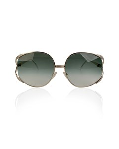 Christian Dior Vintage Gold Metal Sunglasses Mod 2387 Green Lenses