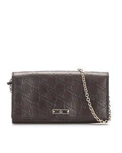 Gucci Guccissima Wallet On Chain Brown