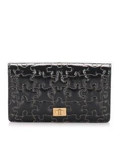 Chanel Puzzle 2.55 Patent Leather Long Wallet Black