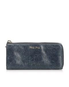 Miu Miu Vitello Shine Wallet Blue