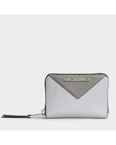 K/klassik Small Zip Around Wallet In Silver Saffiano Silver