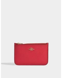 Zipped Card Case In Red Calfskin  Li Jasper