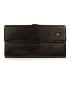 Chanel Black Leather Camelia Long Continental Flap Wallet