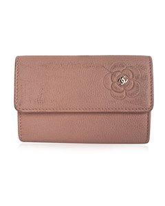 Chanel Pink Leather Camellia Credit Card Id Holder Wallet