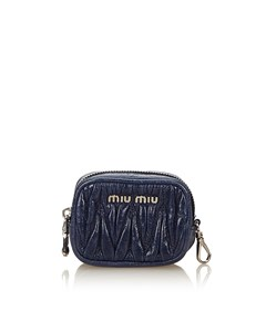 Miu Miu Gathered Leather Coin Pouch Blue