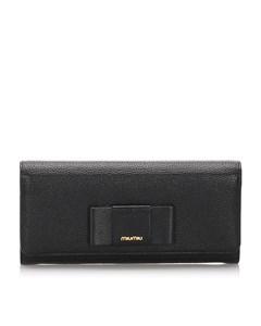 Miu Miu Leather Long Wallet Black