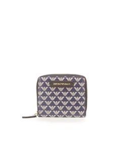 Emporio Armani Monogram Small Blue Beige Wallet