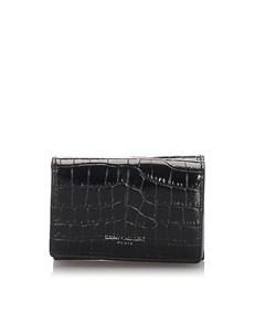 Ysl Crocodile Embossed Compact Wallet Black