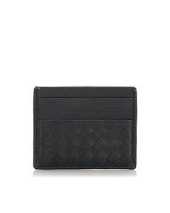 Bottega Veneta Intrecciato Calfskin Card Case Black