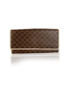 Celine Vintage Brown Macadam Canvas Continental Wallet