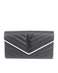 Ysl Leather Monogram Wallet Black